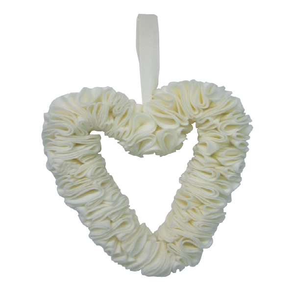 FB10096 Felt ruffle wreath cream Image