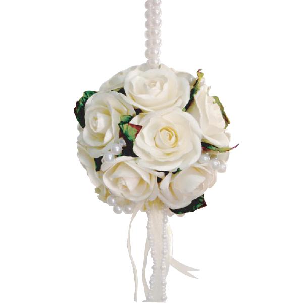 FA10007 White rose pomander white perl beads Image