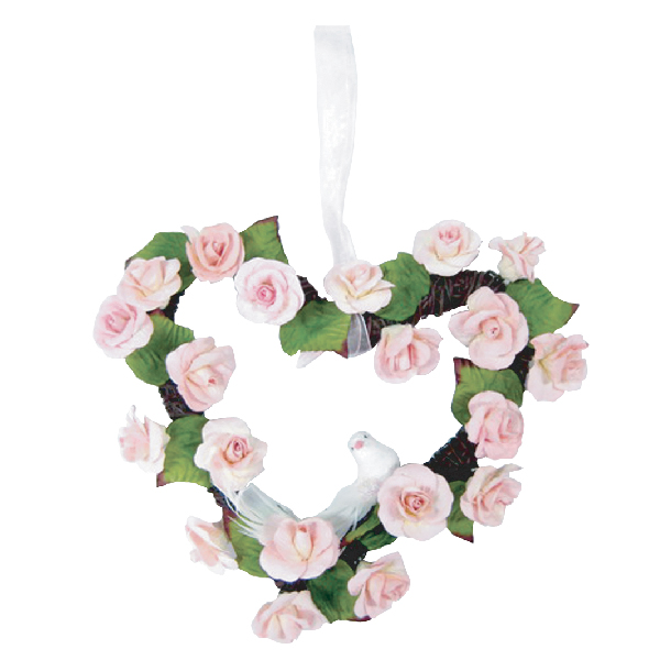 WR10052 Pink Rose Flower Werath in heart shape Image