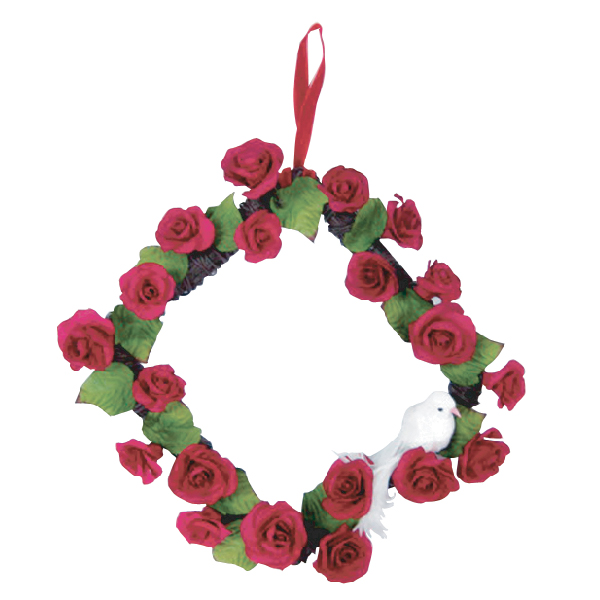 WR10006 Red Rose Flower Werath in square shape Image