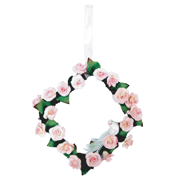 WR10003 Pink Rose Flower Werath in square shape Image